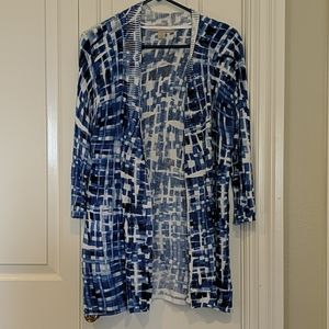 Lightweight Blue and White Patterned Cardigan